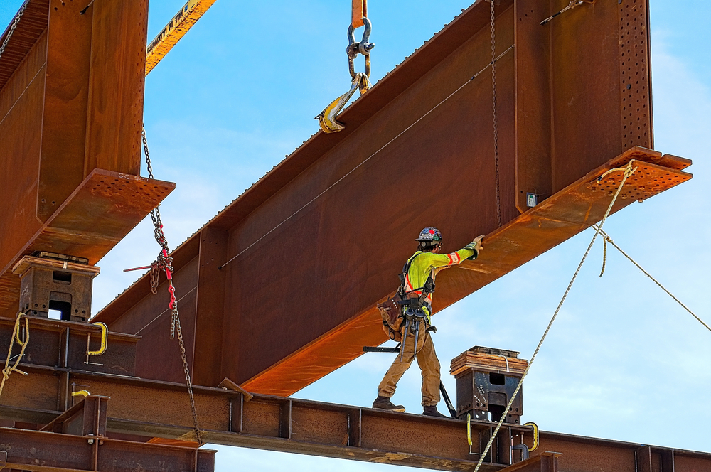 Steel girder on a bridge