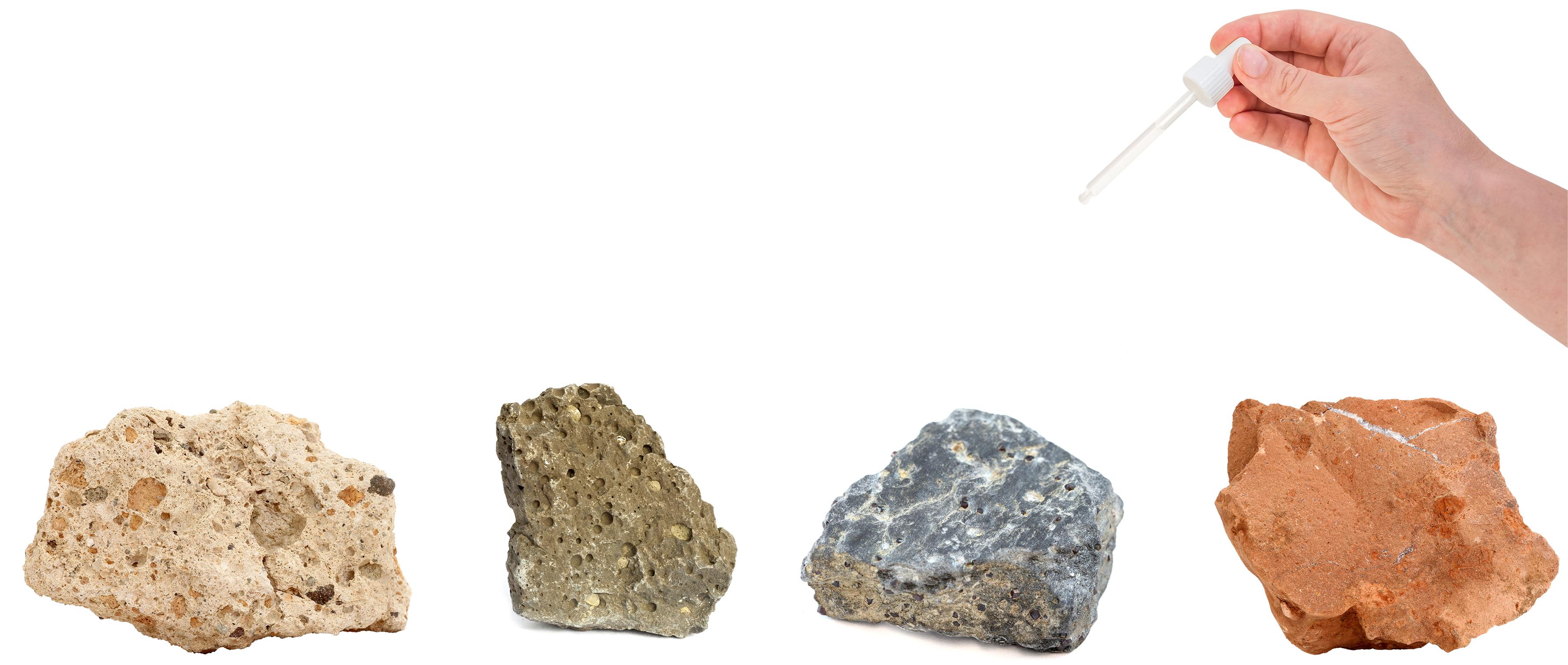 Derramando água em diferentes tipos de rochas - atualizada