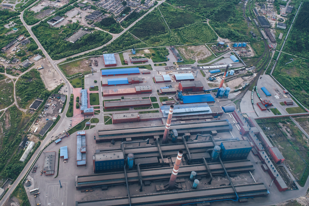 A vast aluminum smelting plant in Russia