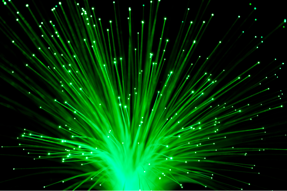 Bunch of Fiber Optic dynamic flying from deep