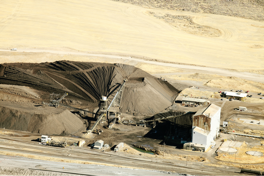 Aerial view of a phosphate mine processing mill