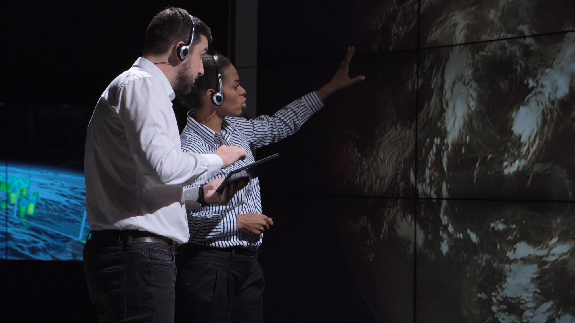 Scientists observe a map