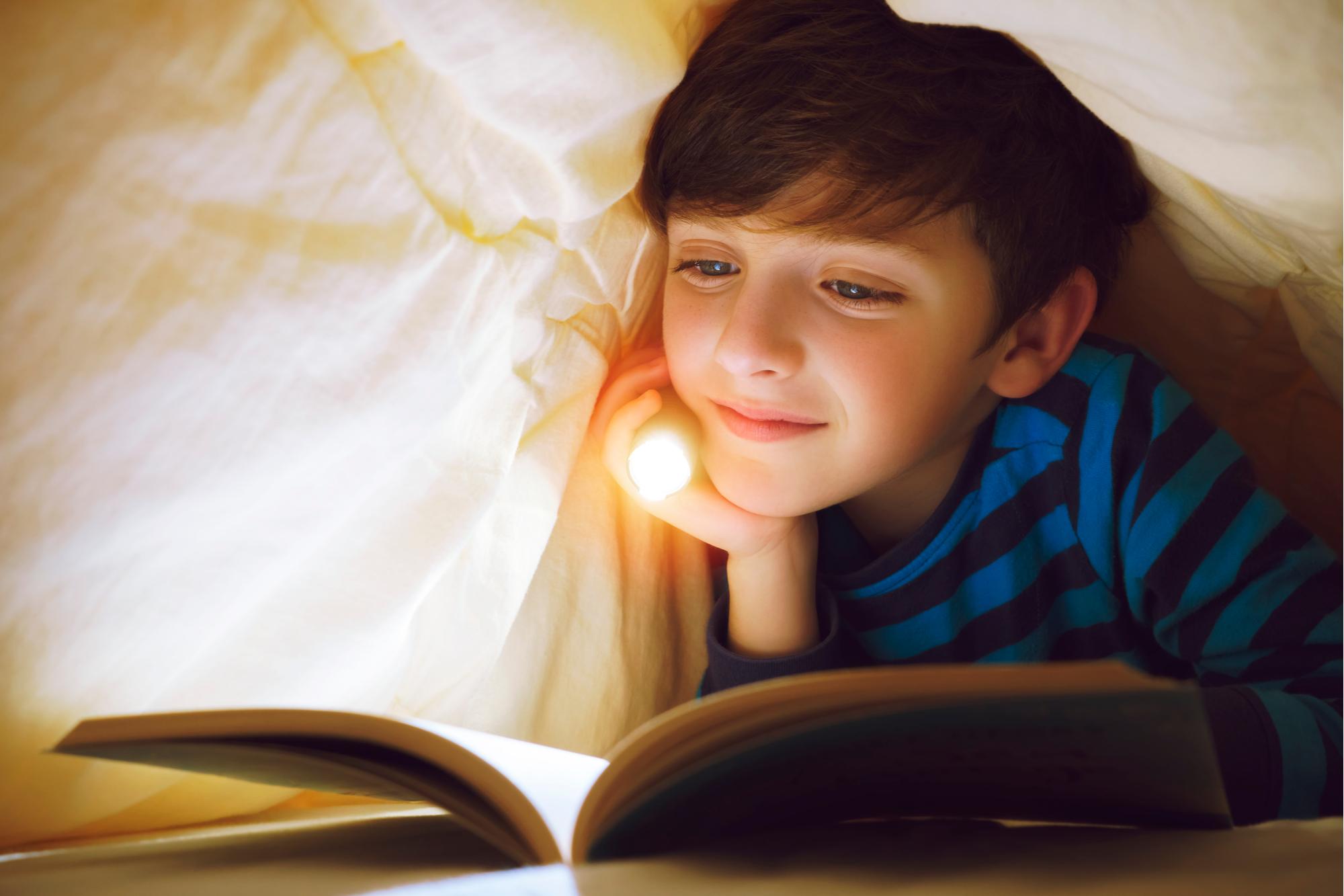 Menino na cama sob o cobertor - lanterna manual - livro de leitura