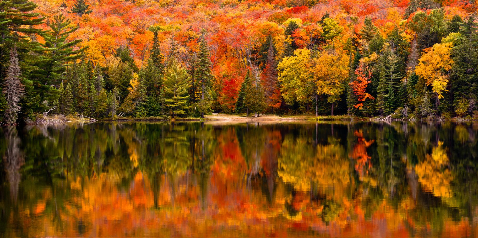 Cor do outono refletida nas águas paradas de Canisbay-Cortado