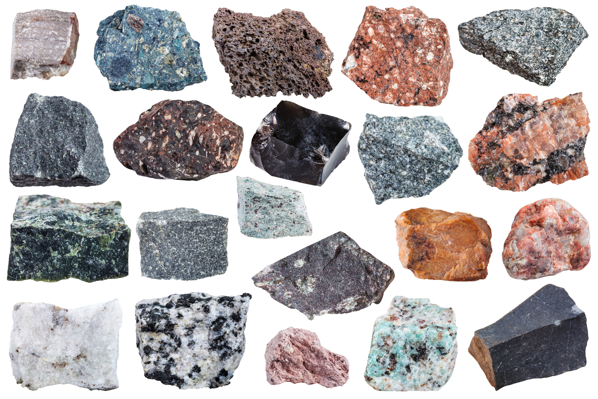 Collection of Igneous rock specimens-72 ppi