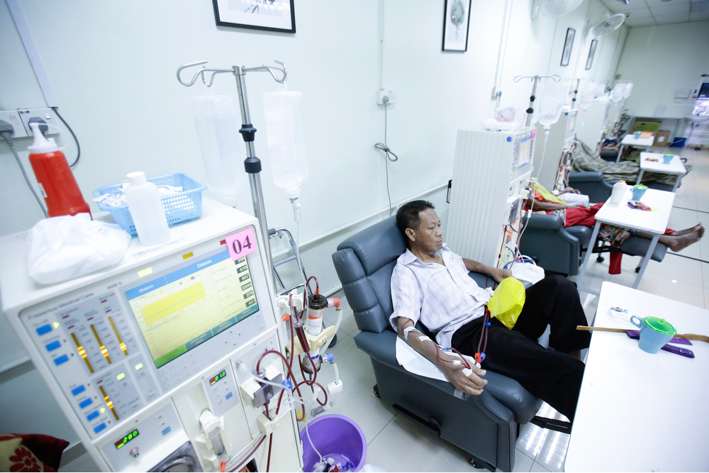 Patient having dialysis treatment at Dialysis Centre
